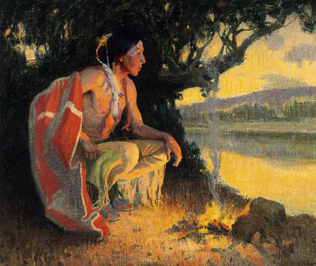 Eanger Irving Couse - Indian by the Fire