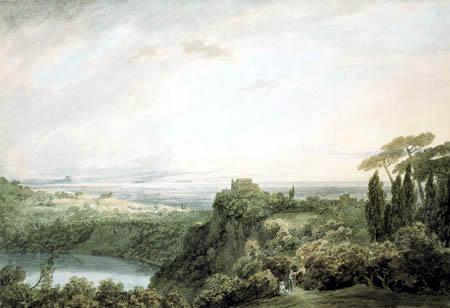 John Robert Cozens - Lake Nemi, Looking towards Genzano
