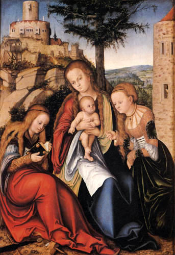 Lucas Cranach the Elder - Madonna with St Barbara and St Catherine