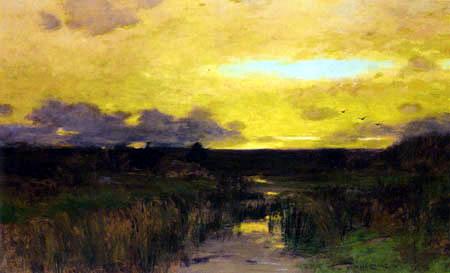 Bruce Crane - Marshes at sunset
