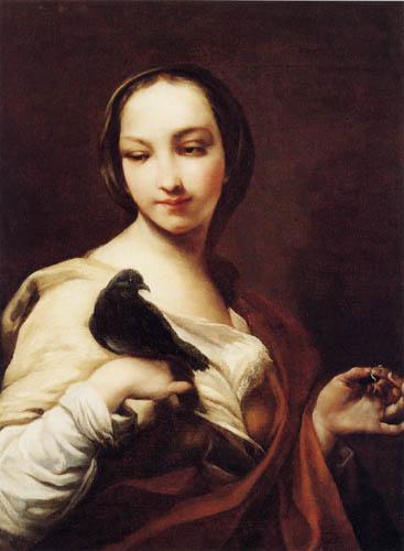 Giuseppe Maria Crespi - Femme avec un pigeon