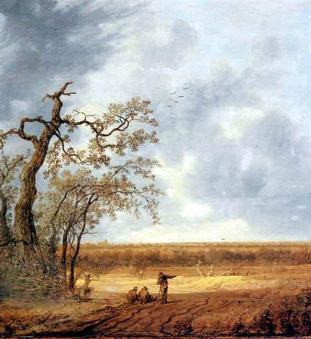 Anthonie Jansz. van der Croos - An extensive landscape with peasants conversing by a dead tree