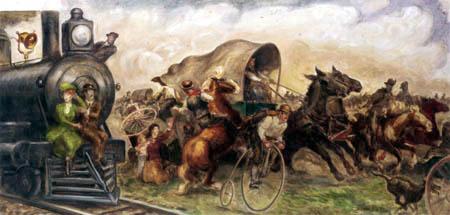 John Steuart Curry - Oklahoma Land Rush