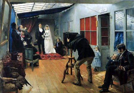 Pascal-Adolphe Dagnan-Bouveret - A wedding couple at photographer