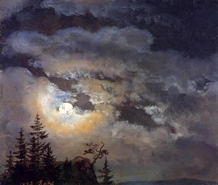 Johan Christian Dahl - Cloudy sky with full moon