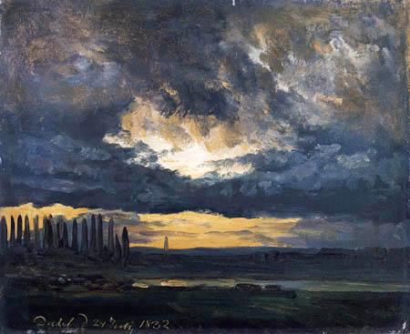 Johan Christian Dahl - Wolkenstudie über der Elbe