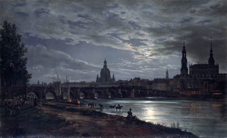 Johan Christian Dahl - Dresden in full moon light