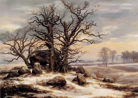 Johan Christian Dahl - Hühnengrab im Winter