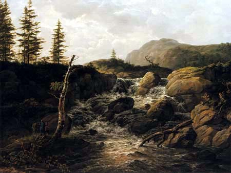 Johan Christian Dahl - Mountainous Landscape with a Waterfall, Norway