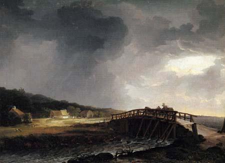 Johan Christian Dahl - Die Brücke über den Fluss Tryggevælde mit Blick auf Køge
