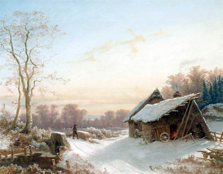 Johan Christian Dahl - Winter landscape with farmhouse