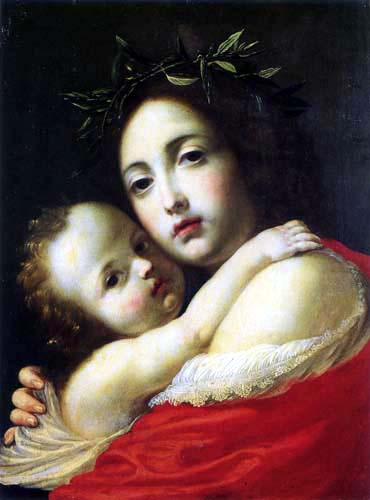 Cesare Dandini - A woman crowned with laurel, holding a child