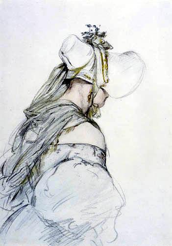 Josef Danhauser - Dame mit Hut