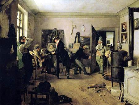 Josef Danhauser - Das Scholarenzimmer eines Malers