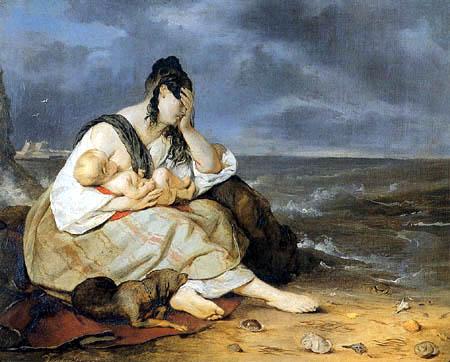 Josef Danhauser - Die Frau des Fischers mit Kind