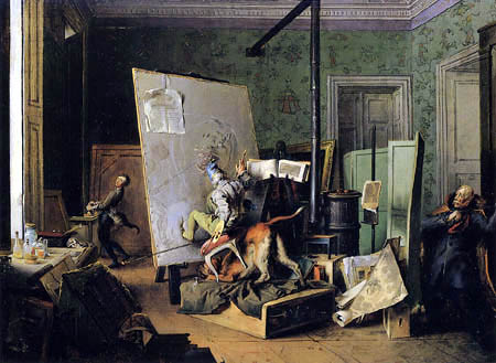 Josef Danhauser - A comical Scene in the Studio