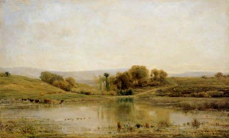 Charles-François Daubigny - Moorteich von Gylieu mit Kühen am Ufer