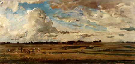Charles-François Daubigny - Paysage de moisson avec des nuages