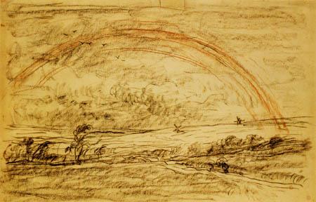 Charles-François Daubigny - Landscape with rainbow