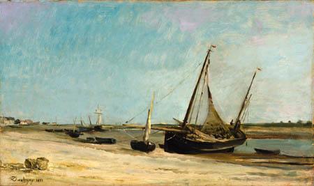 Charles-François Daubigny - Bateaux sur la côte à Étaples