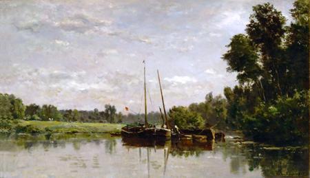 Charles-François Daubigny - The Barges by Daubigny