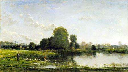 Charles-François Daubigny - Banque de rivière avec la volaille