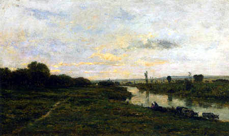 Charles-François Daubigny - Kühe am Ufer der Seine, Conflans