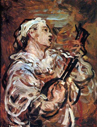Honoré Daumier - Pierrot with Guitar