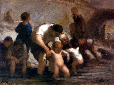 Honoré Daumier - Kinder beim Baden