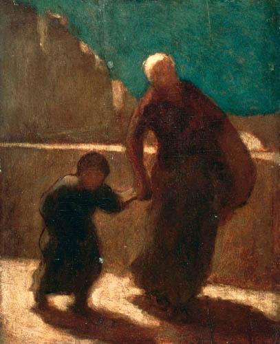 Honoré Daumier - Auf einer Brücke in der Nacht