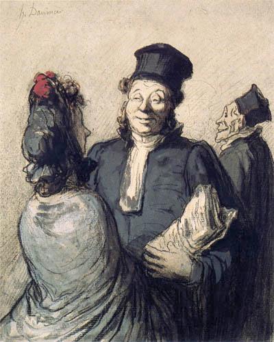 Honoré Daumier - Ein Advokat mit seiner Klientin