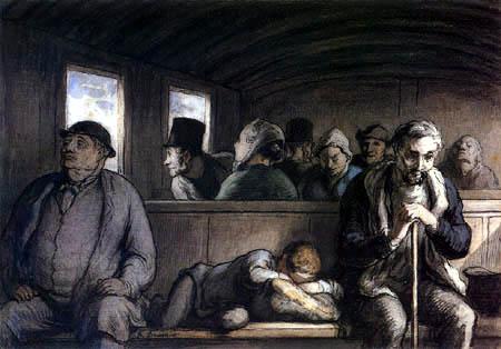 Honoré Daumier - A third-class carriage