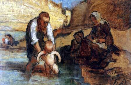 Honoré Daumier - Das erste Bad