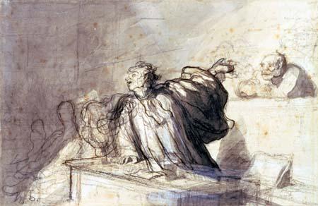 Honoré Daumier - Plädoyer für die Verteidigung