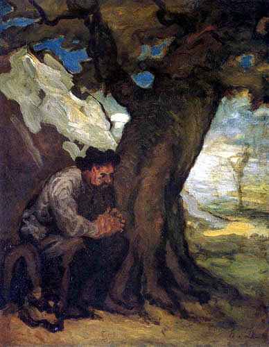 Honoré Daumier - Sancho Panza under a tree