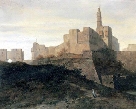 Adrien Dauzats - View of the city wall of Jerusalem