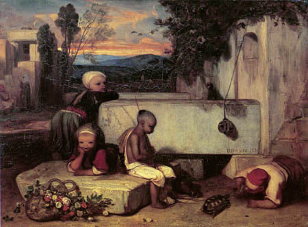 Alexandre Gabriel Decamps - Turkish children with a turtle