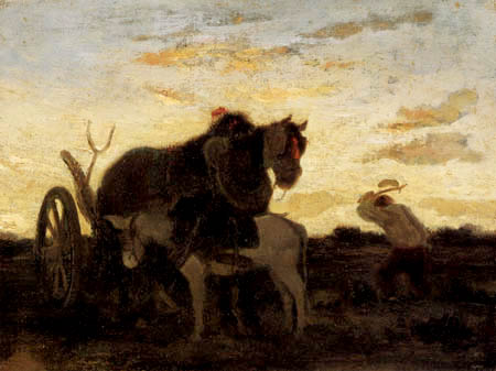 Alexandre Gabriel Decamps - Horse and donkey