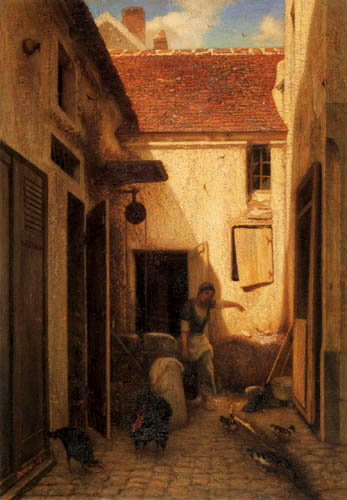 Alexandre Gabriel Decamps - Hof eines Bauernhauses