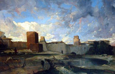 Alexandre Gabriel Decamps - The ramparts of Aigues-Mortes