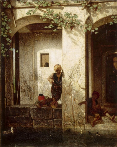Alexandre Gabriel Decamps - Turkish children before a fountain