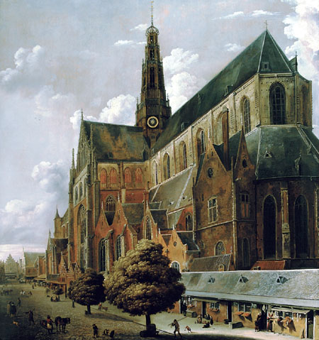 Cornelis Gerritsz. Decker - The Bavo church in Haarlem seen from the Oude Groenmarkt on the South side