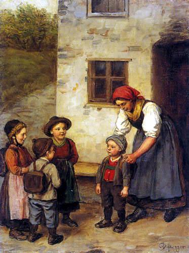 Franz von Defregger - On the way to school