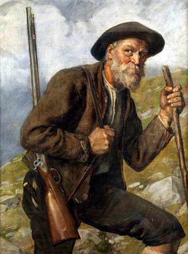 Franz von Defregger - An old hunter with gun in the high mountains