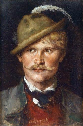 Franz von Defregger - Young man with hat
