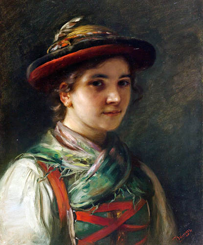 Franz von Defregger - Tyrolean with Hat