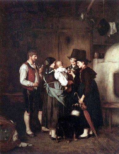Franz von Defregger - Visit of the Aunts