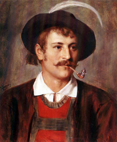 Franz von Defregger - Portait of a Farmer