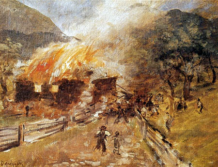 Franz von Defregger - Fire in Reith