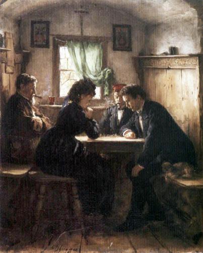 Franz von Defregger - Chess match